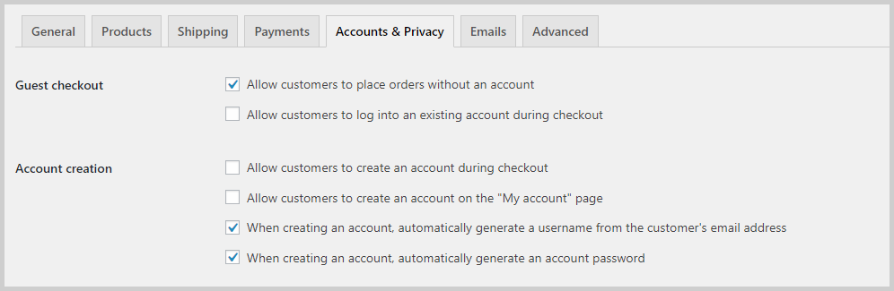accounts and privacy