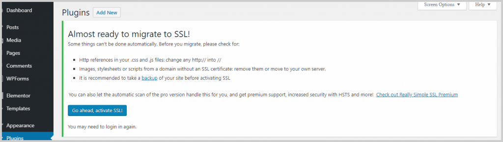 activate really simple ssl