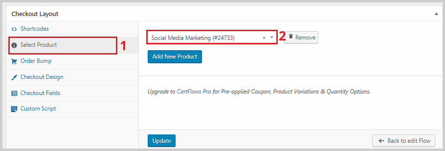 add a product to checkout page