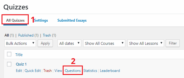 add questions to a quiz