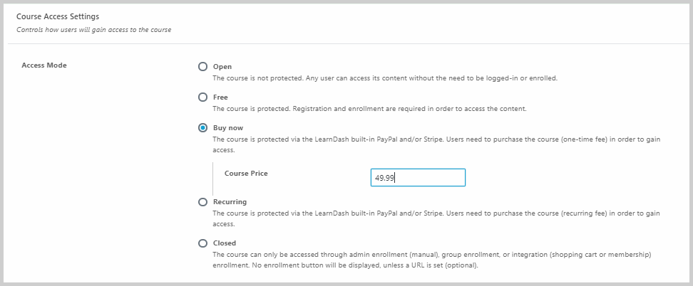 course access settings