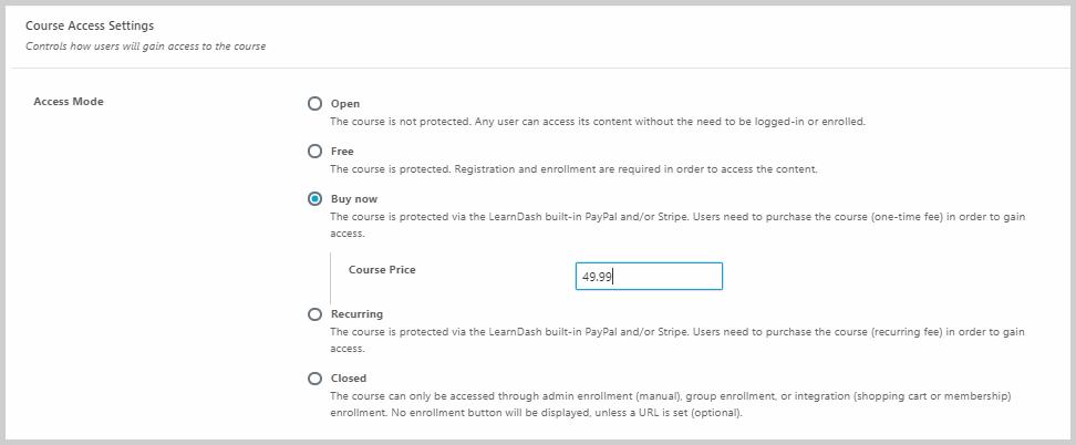 course access settings