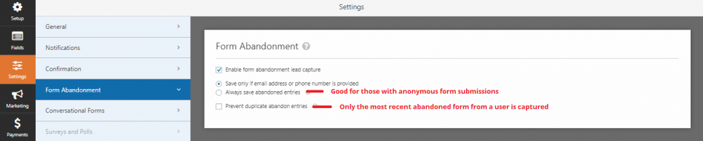 Enable form abandonment