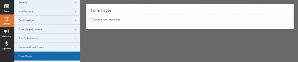 enable form page mode