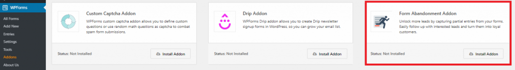 install and activate form abandonment addon