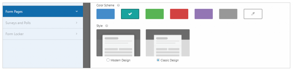 form page modern or classic design