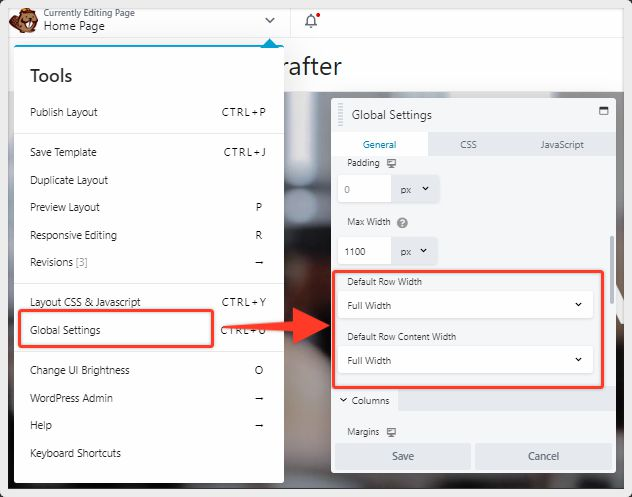global settings - default row width and default row content width