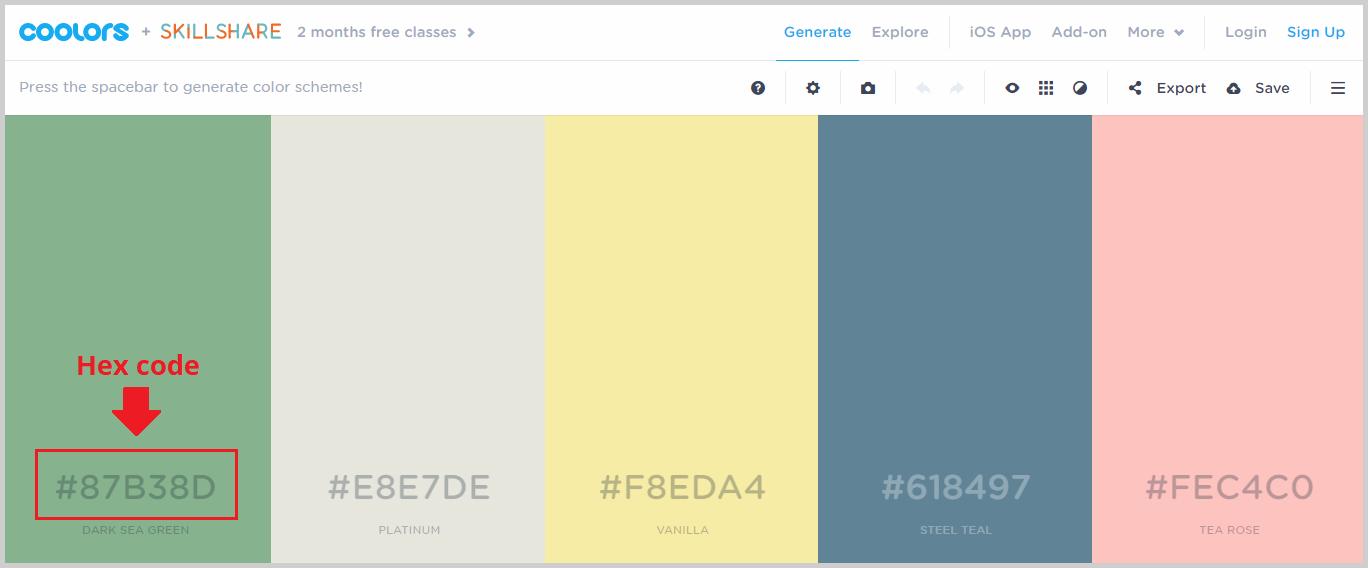 hex codes of color palettes