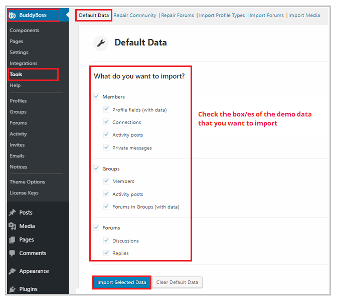 importing demo data