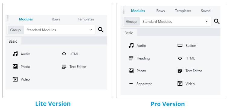 Lite vs. Pro modules