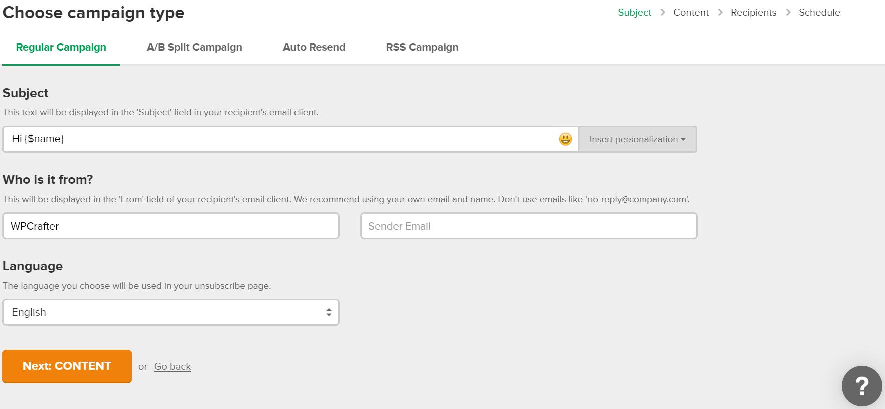 MailerLite Choose Campaign Type