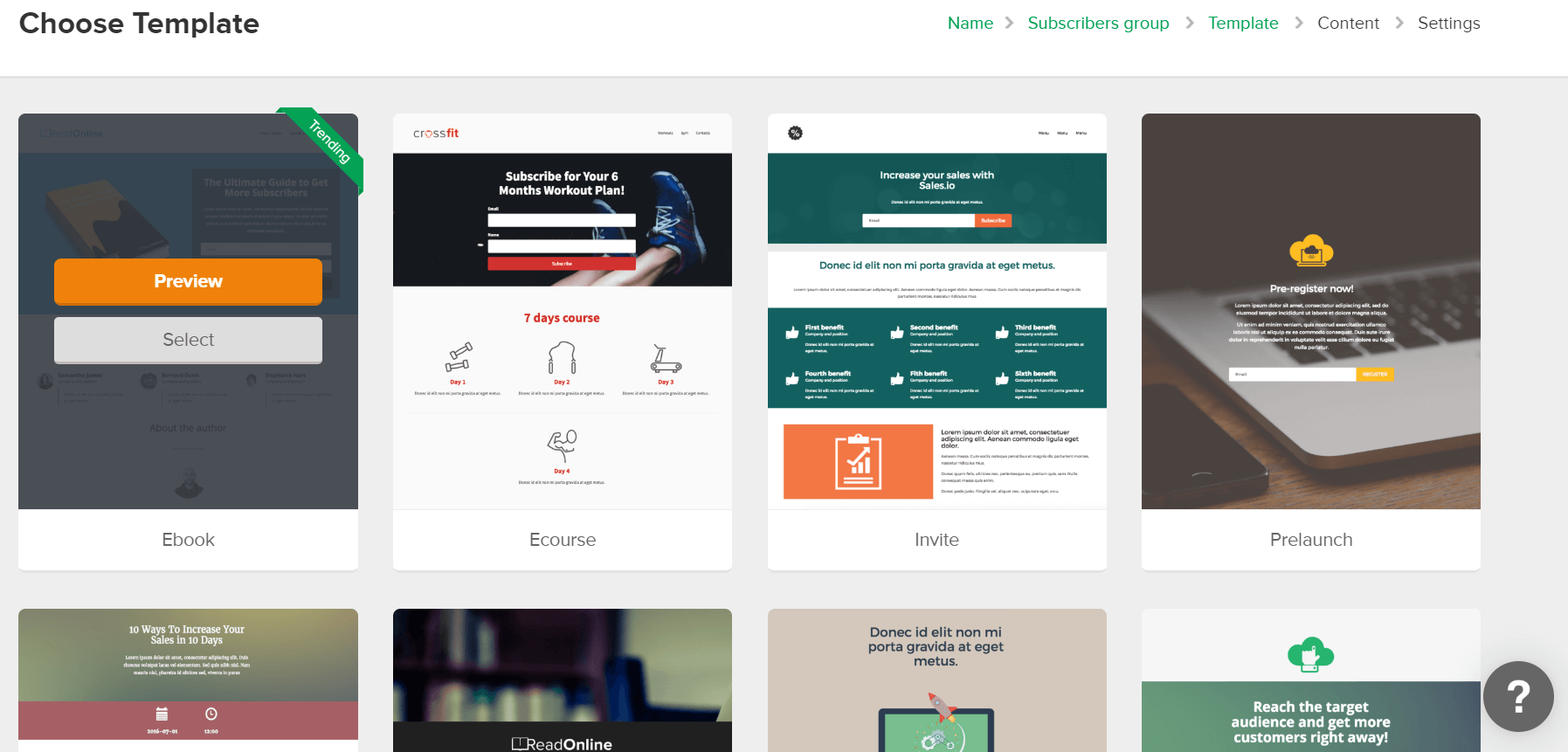 MailerLite Forms Landing Page Choose Template