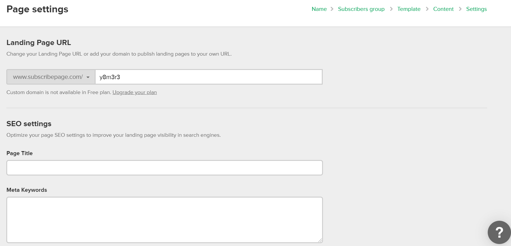 MailerLite Forms Landing Page Settings