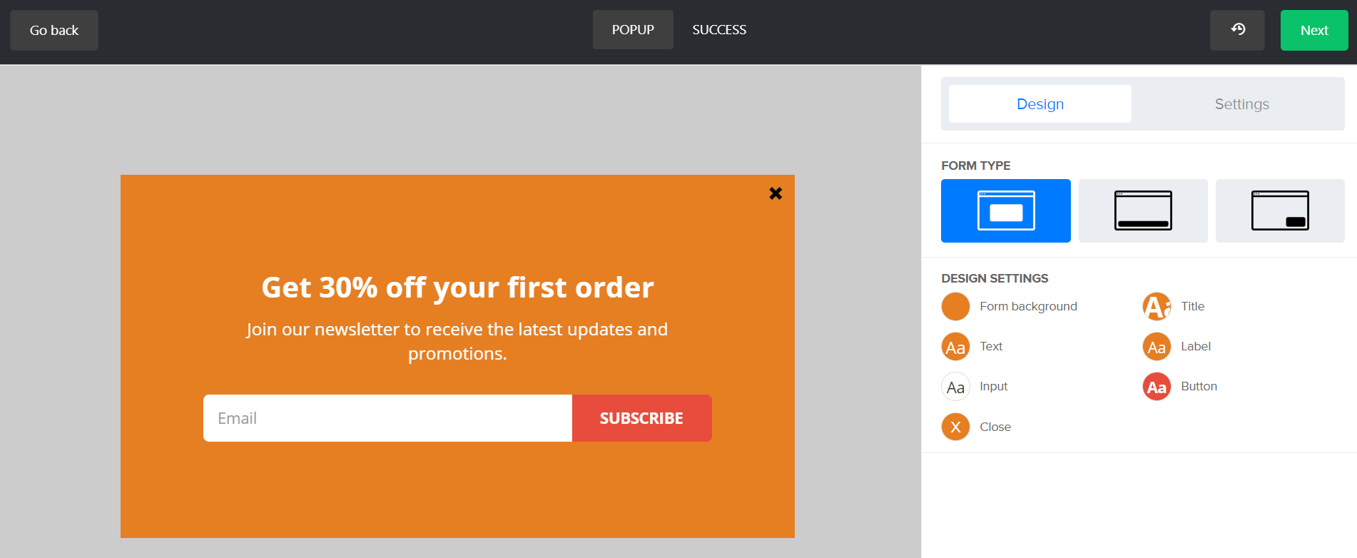 MailerLite Forms Design Popup 1