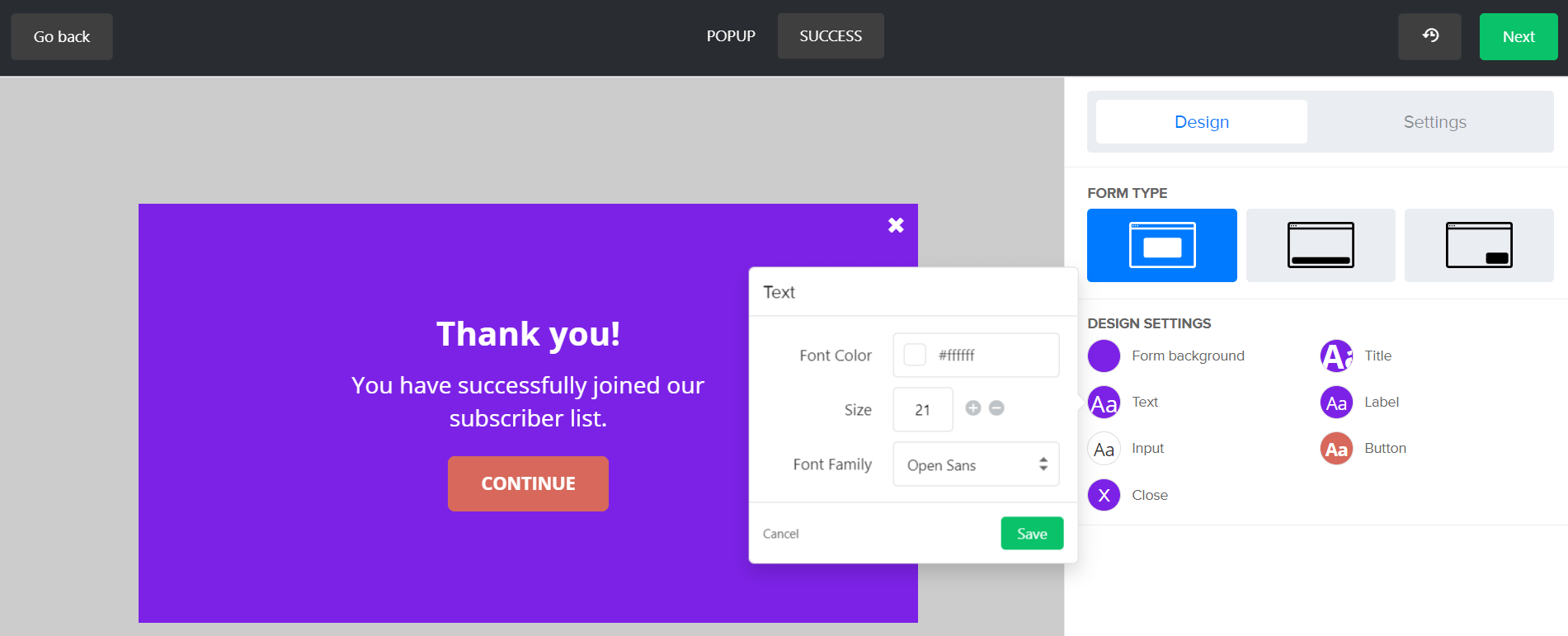 MailerLite Forms Design Popup 3