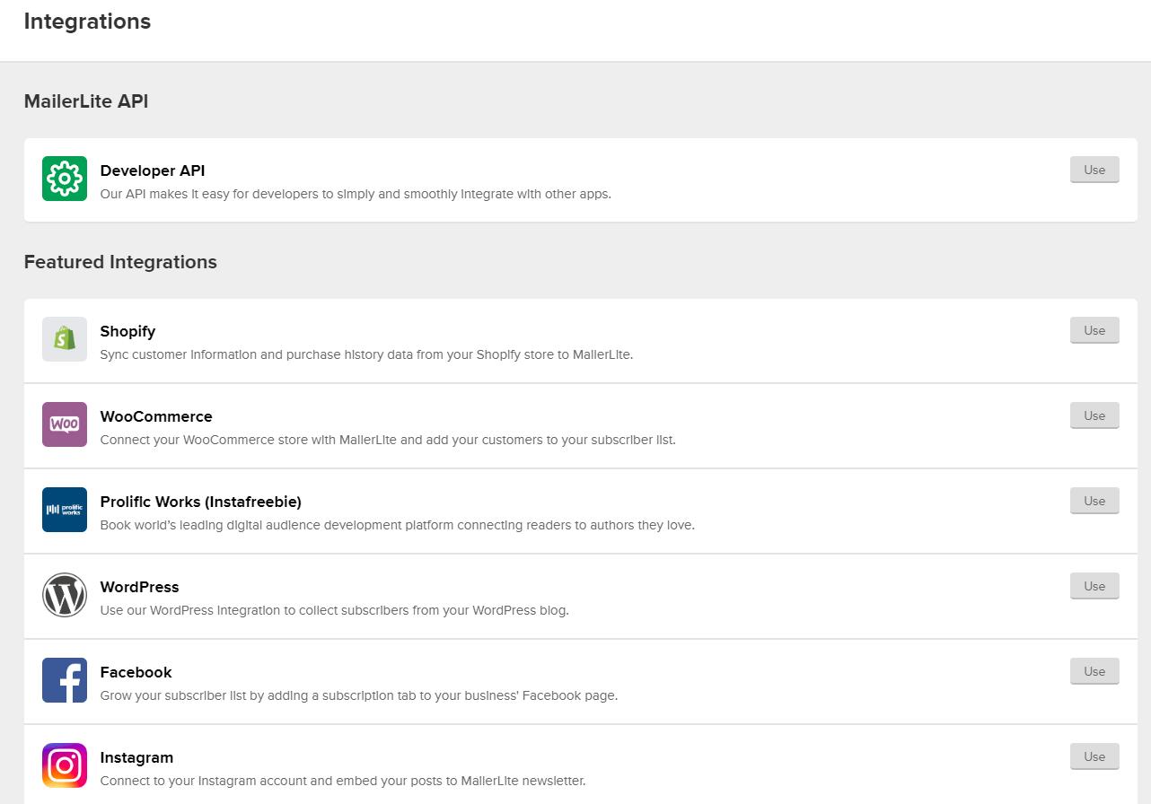 MailerLite Integrations List