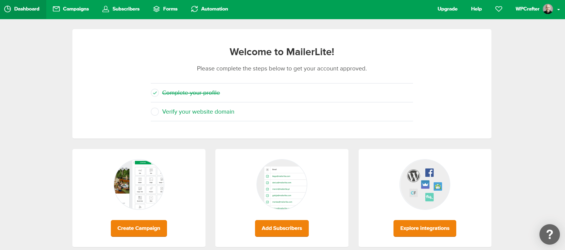 MailerLite Welcome Page.