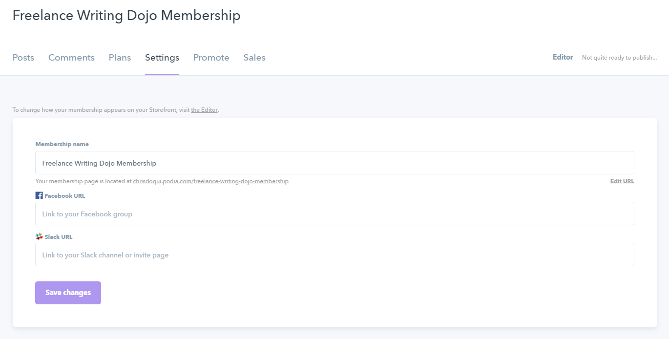 Podia Membership Settings