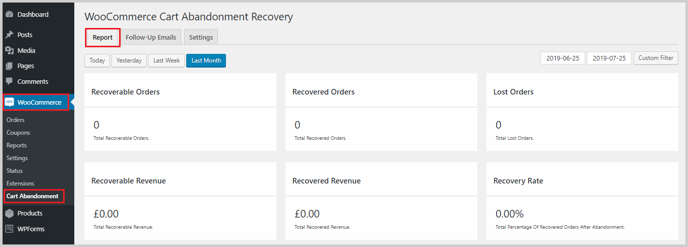 recoverable orders cart abandonment