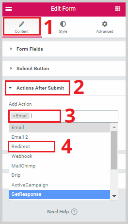 set te action after submit to redirect