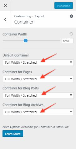 set container to full width / stretched in Astra theme