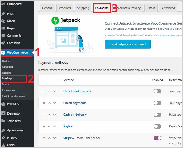 woocommerce payment gateway settings