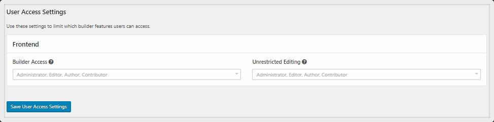user access settings of Beaver Builder Lite