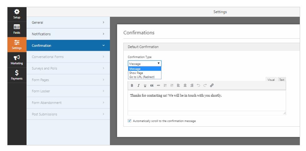 confirmation settings