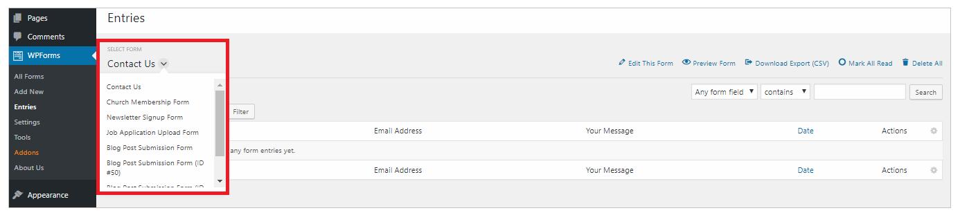 WPForm entries